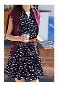 Sleeveless Lapel Collar VNeck Mini Dress with Belt Black