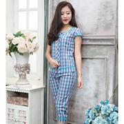 Bộ lửng mặc nhà sọc caro Romance (Caro xanh) XH1602