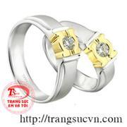 nhẫn cưới vàng trắng kim cương