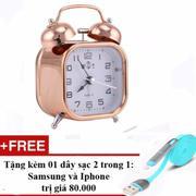 Đồng hồ báo thức kim loại mạ đồng phong cách cổ xưa + Tặng cáp sạc điện thoại 2 trong 1 cho Iphone v...