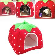 Soft Strawberry Pet Dog Cat Bed House Red (Intl) - intl