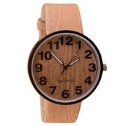 Style Wood Grain Leather Quartz Watch Women Dress Wristwatches Men Watch