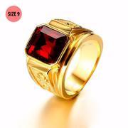 Nhẫn nam thời trang chạm rồng mạ vàng 24k, mặt đá đỏ RC183