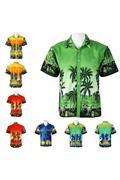 New Men's Summer Hawaiian Beach Surf Short Sleeve Floral Print Tee Tops T-shirts (Grass Green) - int...