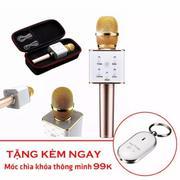 Micro hát karaoke không dây kèm loa Q7 + Tặng kèm móc chìa khóa huýt sáo thông minh
