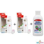 Bộ cặp Bình sữa Pigeon thủy tinh 200ml cổ chuẩn nội địa + Nước rửa bình sữa chai Pigeon 700ml + Cọ r...