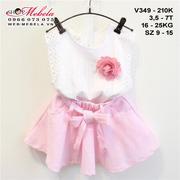 V349 Bộ áo trắng cài hoa kèm chân váy hồng cho bé gái 3 - 7 tuổi, 14 - 25kg, size 9 - 15