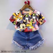 Bộ áo mikey quần jean tua dễ thương cho bé gái 1 - 8 tuổi BGB116513