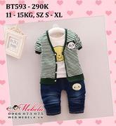 BT593 Bộ quần jeans, áo phông trắng, áo khoác kẻ ngang gấu trúc cho bé trai 11-15kg, 18th-3t, sz s-x...