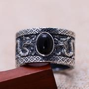 Nhẫn bạc nam đá Obsidian size 9 Hadosa