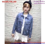 Áo khoác jean nữ thiết kế đơn giản dễ phối đồ AKJ126 (Q9)