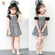 Đầm bẹt vai chạy mooking dễ thương cho bé gái 1 - 10 tuổi DGB190456