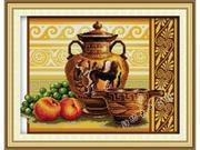 Bình gốm và trái cây