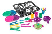 26 Pieces Kitchen Play Dish & Pots Set with Drainer by KinderToys