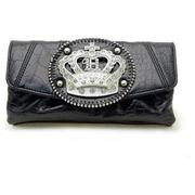 RHINESTONE CROWN BLACK THICK EXPANDABLE WALLET