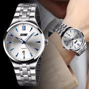 Đồng hồ nam SKMEI dây kim loại cao cấp (Trắng kim xanh)