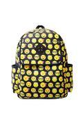 Women Canvas Backpacks Smiley Emoji Face Printing Schoolbag Multicolor