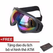 Mắt kính đi phượt chống tia UV (Gọng đen kính đa màu) + Tặng dao bỏ ví du lịch đa năng
