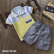 Set áo thun cổ trụ phối sọc quần kaki lưng thun dễ thương cho bé trai 2 - 12 Tuổi BTB19008