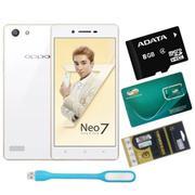 OPPO Neo 7 16GB 2 SIM (Trắng) + Dán Cường Lực + Sim Viettel +Thẻ Nhớ 8GB + Đèn Led USB