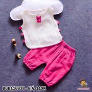 Set áo đính nơ quần lửng dễ thương cho bé gái 1 - 8 tuổi BGB116838