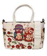Túi xách và túi đeo chéo họa tiết cú - Kem