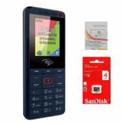 Itel IT2180 1.77inch 2 Sim (Xanh) + Sim Viettel + Thẻ nhớ Sandisk 4GB