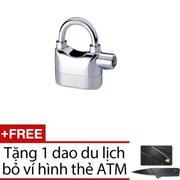 Khóa chống trộm thông minh có còi báo động CT500 + Tặng dao gấp hình thẻ ATM