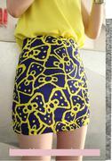 Chân váy họa tiết nơ màu xanh