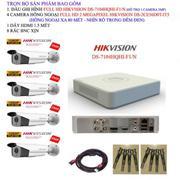 Bộ 1 đầu ghi hình 4 kênh FULL HD Hikvision DS-7104HQHI-F1/N + 4 Camera thân cỡ lớn hồng ngoại FULL H...
