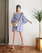Đầm Bẹt Vai Sọc Street Style + Băng Đô