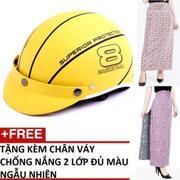 Bộ Nón Bảo Hiểm thời trang (Mode: Haly nữa đầu) + 1 Váy chống nắng 2 lớp màu ngẫu nhiên (Xanh Lam)