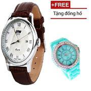 Đồng hồ nam SKMEI SK005 dây da cổ điển chống nước (nâu mặt trắng) + Đồng hồ bé gái cao cấp