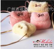 T36 - Túi đeo chéo lông nơ vàng cho bé