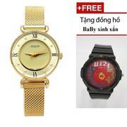 Đồng hồ JULIUS nữ vàng JA-728 khuyên dây mịn JU964 + Đồng hồ baby xinh xắn (Vàng)