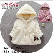 KG300 Áo khoác lông mềm kèm túi cho bé gái 11-18kg, 18th-4t, sz 6-12