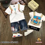 Bộ thun in ba lô quần jean wash thêu mỏ neo dễ thương cho bé trai 2 - 9 Tuổi BTB15715