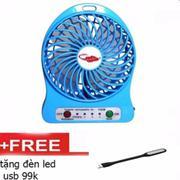 Quạt SẠC TÍCH ĐIỆN MINI USB FAN Siêu mát + Tặng kèm đèn Led
