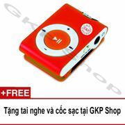 Máy nghe nhạc MP3 hỗ trợ thẻ nhớ - Đỏ, Tặng tai nghe và cốc sạc
