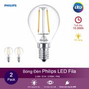 (Bộ 2) Bóng đèn Philips LED Fila 2.3W 2700K đuôi E14 P45 - Ánh sáng vàng