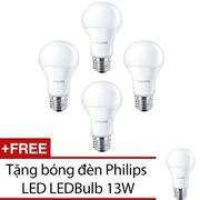 Bộ 4 bóng đèn Philips LED LEDBulb 13W đuôi E27 230V A60 ánh sáng (Trắng) + Tặng 1 bóng đèn Philips L...