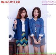 Áo khoác jean nữ tay dài phối túi trẻ trung AKJ110 (Q9)