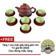 Bộ ấm chén pha trà Bát Tràng cao cấp AH86 + Tặng cừu chặn giấy màu xanh dương