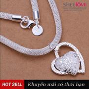 Dây chuyền mạ bạc trái tim lấp lánh LKNSPCN270(Bạc)