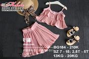 BG184 Bộ voan hồng áo hai dây và quần ống rộng cho bé 2.5-5t, 13-20kg, sz 7-15