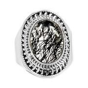 Nhẫn nam Thạch anh tóc đen bạc 925 cao cấp Hadosa