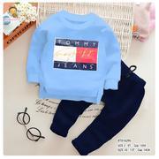 [SIZE ĐẠI] Bộ dài tay thêu logo TOMMY quần da cá dễ thương cho bé trai 10 - 15 Tuổi BTB16297