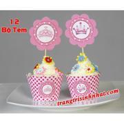 Bộ tem bánh cupcake trang trí sinh nhật cho bé gái công chúa