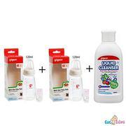 Bộ cặp Bình sữa Pigeon thủy tinh 120ml cổ chuẩn nội địa + Nước rửa bình sữa chai Pigeon 700ml + Cọ r...