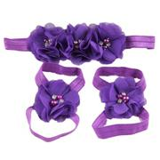 Fancyqube 3 pcs New Baby Flower Headband Chiffon hair band with flower foot wrist BB-230 Light Purpl...